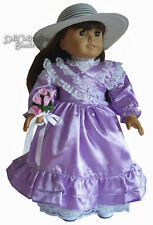 """Victorian Lavender Bridesmaid Dress + Bouquet for 18"""" American Girl Doll Clothes"""
