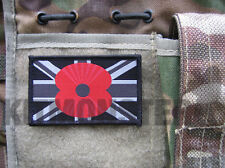 Large Union Flag Velcro Patch with Remembrance Poppy badge Mono Police Colours