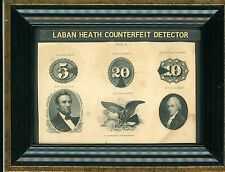 1870'S $5,10,20 NAT'L CURRENCY LINCOLN,HAMILTON ABNC HEATHS COUNTERFEIT DETECTOR
