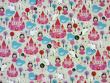 HAPPY PRINCESS LINEN T39 CHILDRENS CURTAIN DRESSMAKING CRAFT FABRIC FAIRYTALE