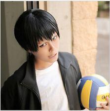 Free Shipping New Haikyu!! kageyama tobio Black Short Cosplay Wig + Free Wig Cap
