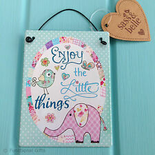Sass & Belle Metal Vintage Home Kitchen Plaque Sign Enjoy Little Things - 4for3