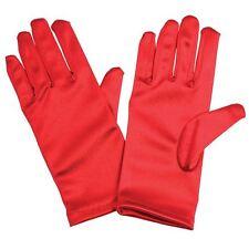 Childrens Childs White Red Black Ivory Satin Feel Bridesmaid Flower Girl  Gloves