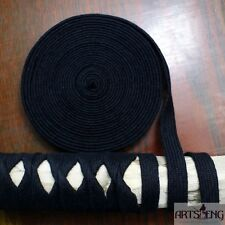 NEW 5METERS KATANA BRAID SAGEO TSUKA ITO FOR HILTS WRAP BLACK COTTON STA001