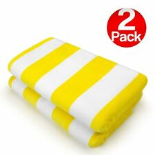 KAUFMAN - 2PC Pack 32'X62' Velour Cabana Stripe Towels YELLOW/WHITE (104575)
