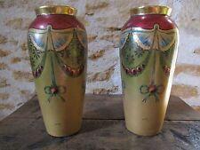 paire de vase emaux d'art de limoges jean boyer signé Buisson floral design vase
