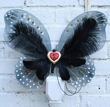 BLACK GOTH BRIDAL WINGS RED HEART STEAMPUNK FAIRY WEDDING FESTIVAL HALLOWEEN