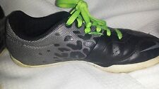 Nike Leather Indoor Soccer Shoes Boys Girls 1Y Youth Kids Black Leather Gre