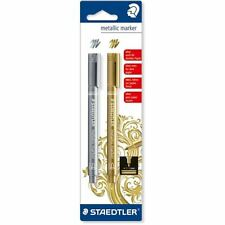 STAEDTLER METALLIC MARKER PENS GOLD & SILVER SET OF 2 PENS 8323-S BK2