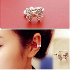 1 PC Lady Crystal Bowknot Silver Plated Ear Bone Clip Earring Jewelry