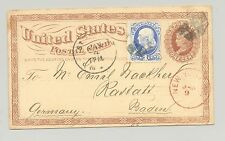 USA 1875 usage to Germany, uprated with 1¢ Bank Note tied by St. Louis, MO