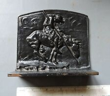 "VINTAGE BRON MET ""End Of The Trail""  American Indian on Horse Bookend CAST IRON"
