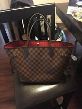 LOUIS VUITTON Neverfull MM tote Damier Ebene Canvas & Red N41358