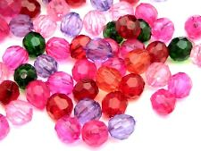 100 Piezas - 8 Mm Navidad Berry Mezcla Acrílico facetado redondo perlas Joyas B84