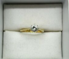 Vintage18ct Gold & Platinum 0.33ct Diamond Solitaire Ring Very Small Girl Size E
