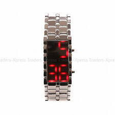 NEW LED Volcanic Lava  Iron Bracelet Digital Samurai Metal Wrist Watch US SHIP