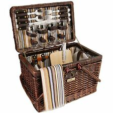Picnic & Beyond Wicker Picnic Basket for 4 PB1-3757A-Brown 28pcs