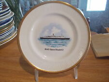 R M S Queen Elizabeth II Commemorative Plate-Reproduction of LEEDS POTTERY 1783