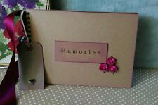 Kraft Scrapbook Rustic handmade Photo Album memory book vintage BURGUNDY pages