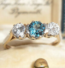 FABULOUS BLUE & WHITE TOPAZ TRILOGY 9CT GOLD VINTAGE DECO ANTIQUE RING