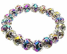 Fancy Titanium Aura Quartz Rainbow Crystal Gemstone Bracelet