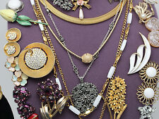 Vintage Jewelry Lot Earrings Brooches Necklaces Bracelet Trifari  Berebi Lisner