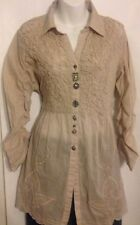 Parsley & Sage Size Lg Top Lace Bling Western Style Buttons Sheer Beige Cotton