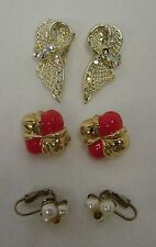 Lot of 3 Costume Pink Gold Rhinestone Bow Pearl Cluster Clip On Earrings Vintage