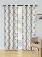 """2 GROMMET PRINTED PANEL 2 TONE FOAM LINED BLACKOUT WINDOW CURTAIN ZAIN TAUPE 84"""""""