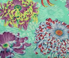 By 1/2 Yard Free Spirit Philip Jacobs Floating Mums Duckegg Floral Cotton Fabric