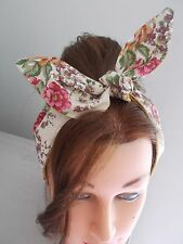 HEAD BAND HAIR SCARF RED WHITE ROSES PINK GOLD ROCKABILLY 1950 1940 FLORAL NEW