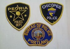 3 RARE VINTAGE POLICE (USA) BADGES PATCHES sew on -Peoria,chicopee, portland