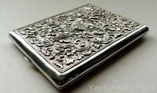 ANTIQUE embossed Chinese-Yogya/Djokja export SOLID SILVER cigarette CASE-box