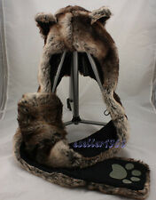 Brown Wolf Faux Fur Animal Hood Hat 4 in 1 Fuzzy Ear Long Flap Scarf Mitten caps