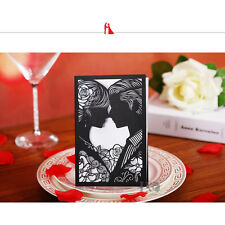 60pcs Black Laser Cut Wedding Invitation Cards With Custom Personalized Printing