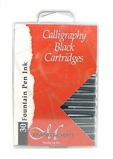 30 BLACK MANUSCRIPT INK CARTRIDGES INTERNATIONAL SIZE FOUNTAIN CALLIGRAPHY PEN