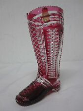 "GERMAN IMPERLUX RUBY CRANBERRY HAND CUT TO CLEAR 7 3/4"" BOOT~EXCELLENT CONDITION"