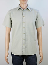 Fat Face mens Size small grey green cotton cord short sleeve shirt