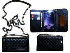 Black Wallet Purse Case With Chain Shoulder Straps & Mirror For iPhone 6 For Her