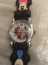 Kids Girls Boys Black Mickey Mouse Wrist Watch Silicone Strap Steel Back Sfn