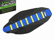 HUSQVARNA HUSKY 85 TC85 2015 RIBBED SEAT COVER BLACK + BLUE YELLOW STRIPES RIBS