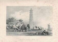 1843 ANTIQUE PRINT-ALLOM CHINA-PLAYING AT SHUTTLECOCK WITH THE FEET