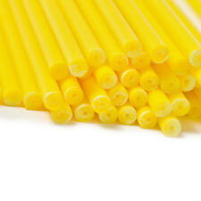 x100 114mm x 4mm Yellow Coloured Plastic Lollipop Lolly Cake Pop Sticks Crafts