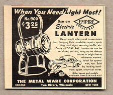 1950 Vintage Ad Empire Electric Lanterns Metal Ware Corp Two Rivers,WI