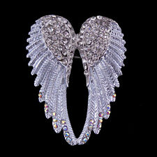 Lovely White Angel Wing 5.5cm Long Use Swarovski Crystal Brooch Pin Scarves