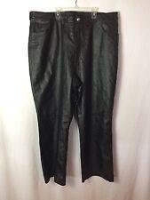 NEWPORT NEWS Woman 100% Leather Pants Pockets Black Plus Sz 24W