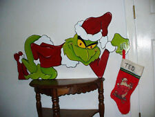 PAINTED GRINCH SHELF SETTER CHRISTMAS DECORATION made & ready to ship