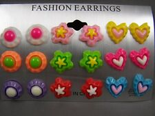 Heart Flower Circle set pack of 9 pair plastic post stud earrings metal back pkB