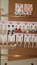 Joblot of 12Pairs Mixed Design Sparkly Diamante Dangly Earrings-NEW Wholesale B
