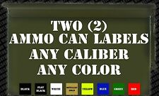 Two (2) AMMO CAN LABELS -Decal Stickers Hunting Reloading Shooting Calibers